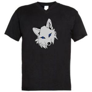 Męska koszulka V-neck Gray fox - PrintSalon