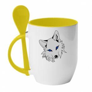 Kubek z ceramiczną łyżeczką Gray fox - PrintSalon