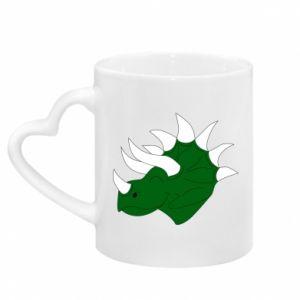 Mug with heart shaped handle Green dinosaur head