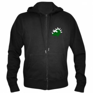 Men's zip up hoodie Green dinosaur head