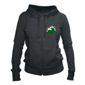 Women's zip up hoodies Green dinosaur head - PrintSalon