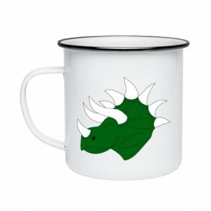 Enameled mug Green dinosaur head - PrintSalon