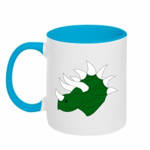 Two-toned mug Green dinosaur head - PrintSalon