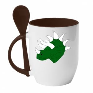 Mug with ceramic spoon Green dinosaur head - PrintSalon