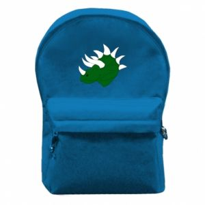 Backpack with front pocket Green dinosaur head