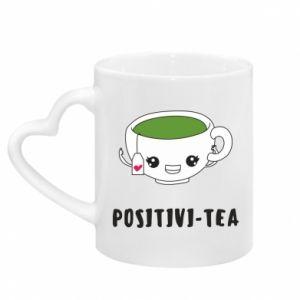 Mug with heart shaped handle Green positivi-tea