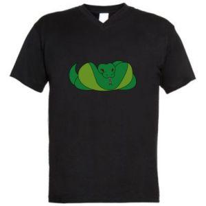 Męska koszulka V-neck Green snake - PrintSalon