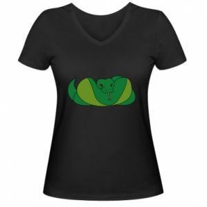 Damska koszulka V-neck Green snake - PrintSalon