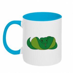 Two-toned mug Green snake