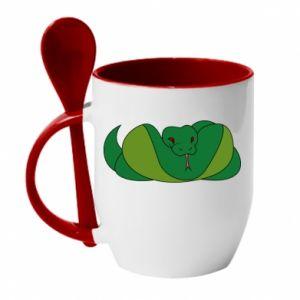 Kubek z ceramiczną łyżeczką Green snake - PrintSalon