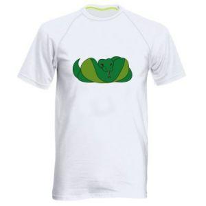 Męska koszulka sportowa Green snake - PrintSalon