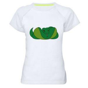 Damska koszulka sportowa Green snake - PrintSalon