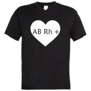 Męska koszulka V-neck Grupa krwi AB+