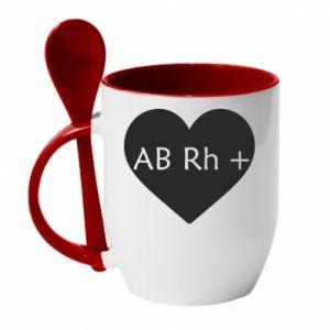 Kubek z ceramiczną łyżeczką Grupa krwi AB+