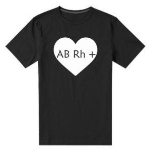Męska premium koszulka Grupa krwi AB+