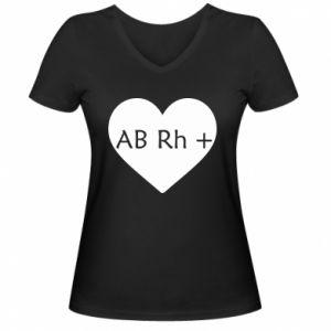 Damska koszulka V-neck Grupa krwi AB+