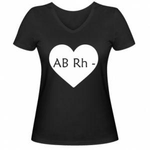 Damska koszulka V-neck Grupa krwi AB-