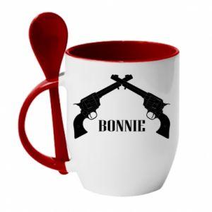 Kubek z ceramiczną łyżeczką Gun Bonnie