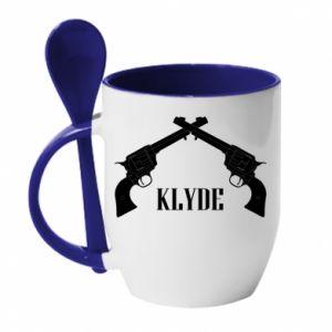 Mug with ceramic spoon Gun Clyde - PrintSalon
