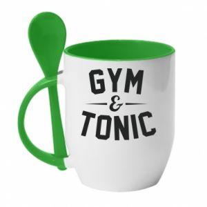 Kubek z ceramiczną łyżeczką Gym and tonic