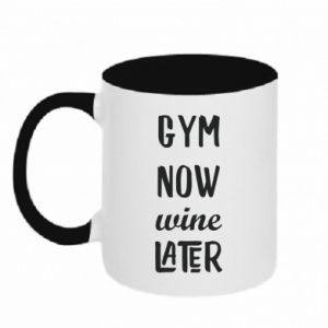 Two-toned mug Gym Now Wine Later