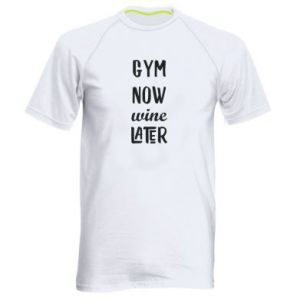Men's sports t-shirt Gym Now Wine Later