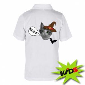 Dziecięca koszulka polo Halloween. Kotek - PrintSalon