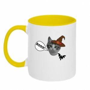Two-toned mug Halloween. Kitty