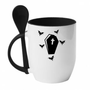Mug with ceramic spoon Halloween - PrintSalon