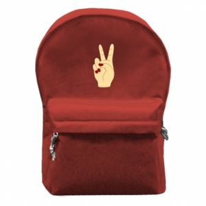 Backpack with front pocket Hand peace - PrintSalon