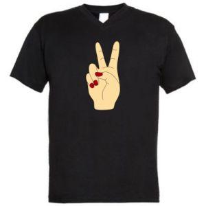 Męska koszulka V-neck Hand peace