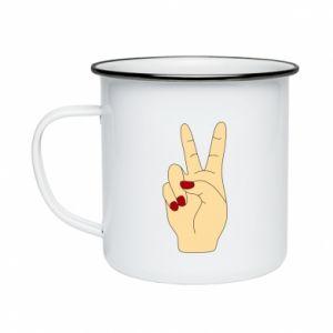 Enameled mug Hand peace - PrintSalon