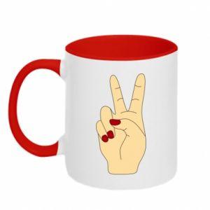 Two-toned mug Hand peace - PrintSalon