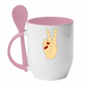 Mug with ceramic spoon Hand peace - PrintSalon