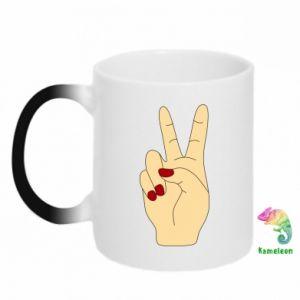 Chameleon mugs Hand peace - PrintSalon
