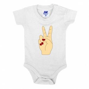 Baby bodysuit Hand peace - PrintSalon