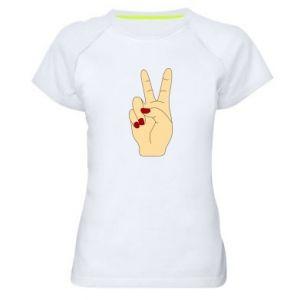 Women's sports t-shirt Hand peace - PrintSalon