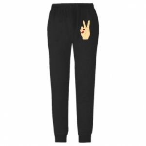 Męskie spodnie lekkie Hand peace - PrintSalon