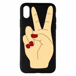 Phone case for iPhone X/Xs Hand peace - PrintSalon
