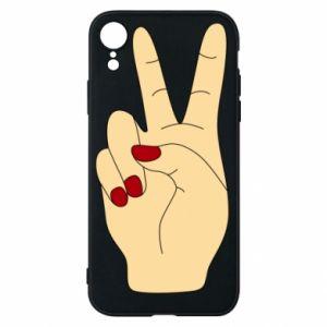 Phone case for iPhone XR Hand peace - PrintSalon