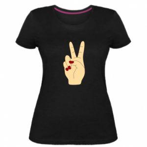 Women's premium t-shirt Hand peace - PrintSalon