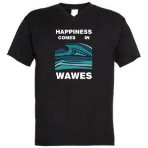 Męska koszulka V-neck Happiness comes in wawes
