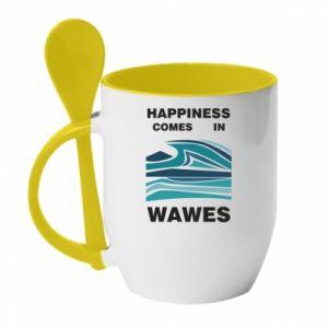 Kubek z ceramiczną łyżeczką Happiness comes in wawes