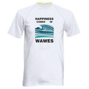 Męska koszulka sportowa Happiness comes in wawes