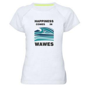 Koszulka sportowa damska Happiness comes in wawes