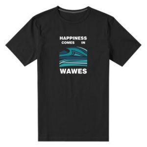 Męska premium koszulka Happiness comes in wawes