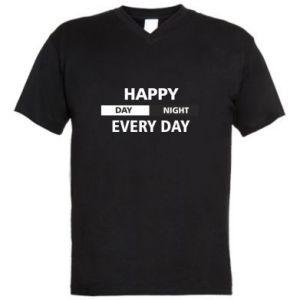 Męska koszulka V-neck Happy every day