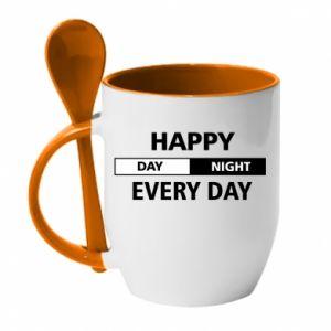 Kubek z ceramiczną łyżeczką Happy every day