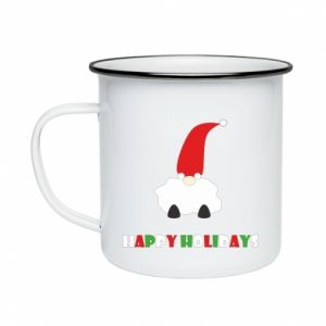 Kubek emaliowany Happy Holidays Santa