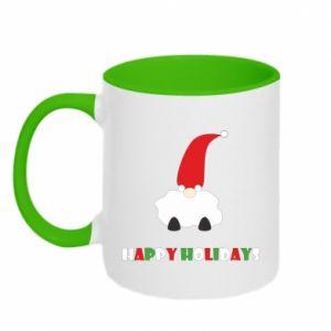 Two-toned mug Happy Holidays Santa